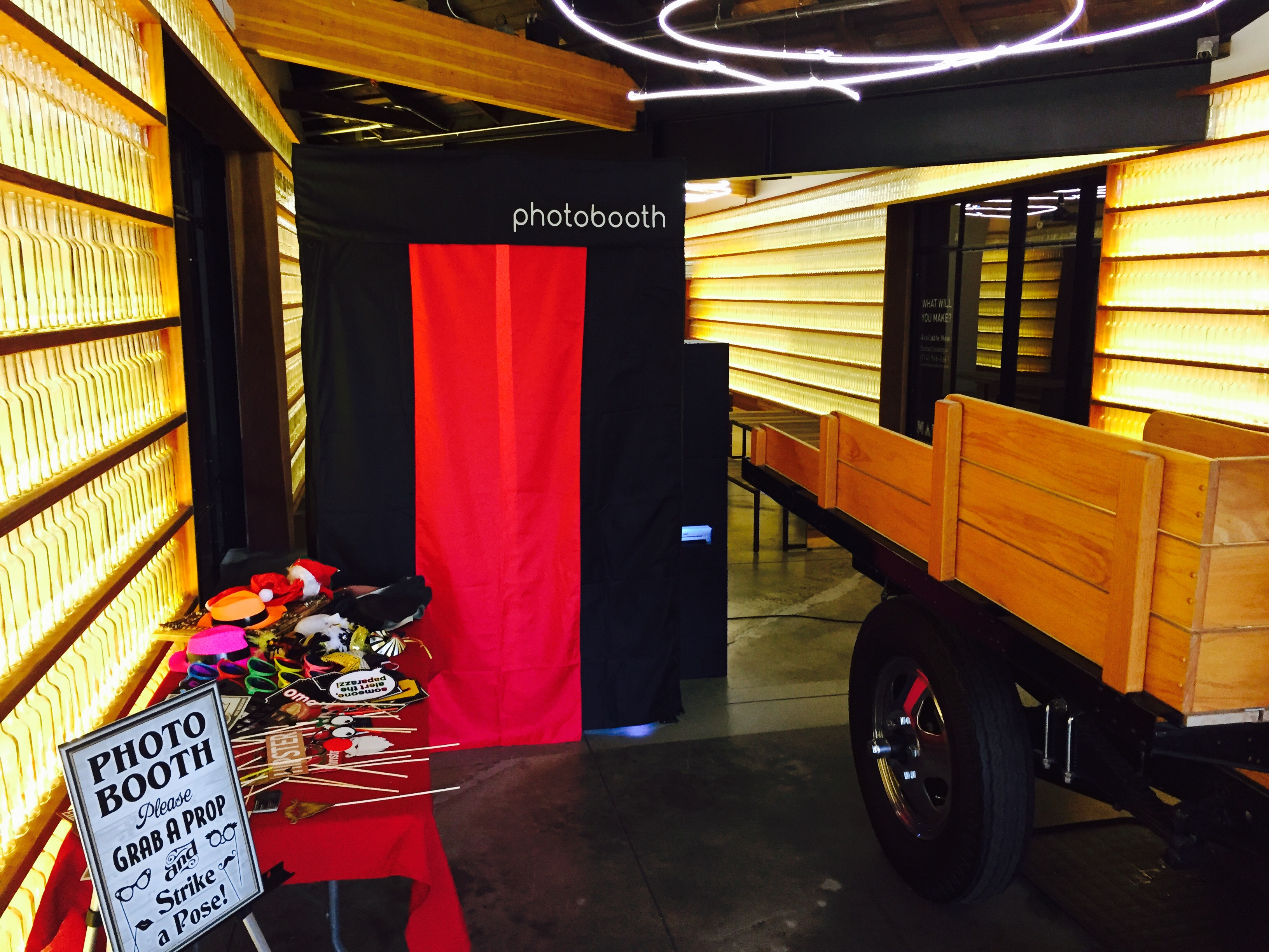 Enclosed Photo Booth Set up, Last Night's PhotoBooth